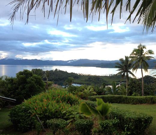 A view of the grounds at Bula Vista, Savusavu.