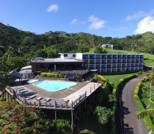 An aerial image of the Hot Springs Hotel, Savusavu.